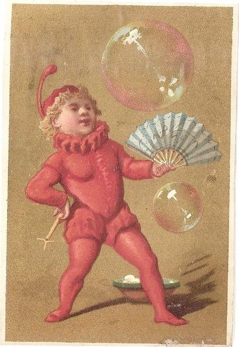 Clown Jongleur Bulle De Savon Eventail Numero De Cirque Chromo