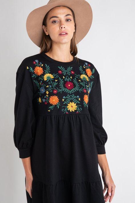 Isla Embroidery Dress - SMALL