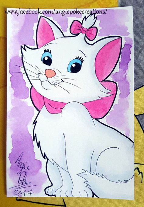 Dessin Aquarelle Disney Aristochat Chat Rose Girly Kawai Dessin