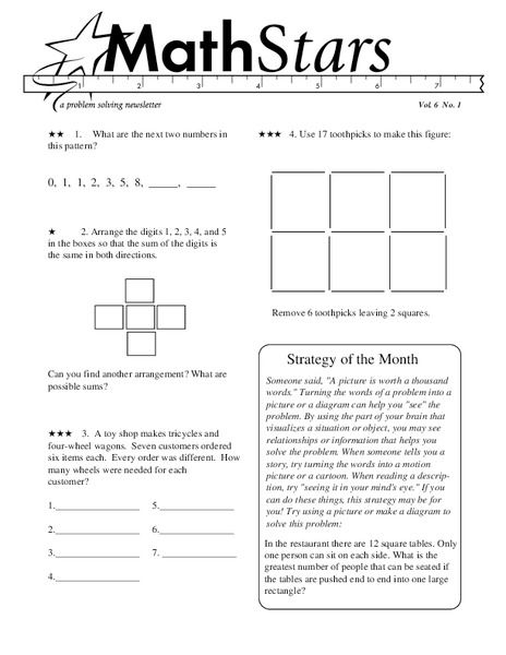 Math Stars A Problem Solving Newsletter Grade 6 Worksheet For 4th 7th Grade Lesson Planet Algebra Worksheets Geometry Worksheets Free Math Worksheets