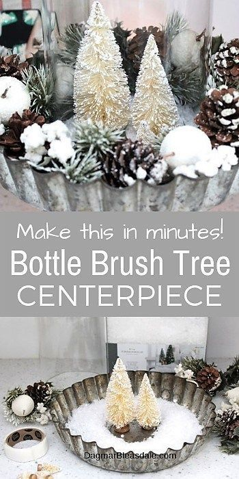 Bottle Brush Tree Decor Easy Centerpiece With A Pie Tin Candle Holder Bottle Brush Trees Simple Centerpieces Diy Simple Centerpieces