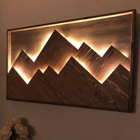 Light Up Mountain Art Wooden Wall Decor, Wooden Walls, Wood Wall Art, Wooden Lamp, Wooden Wall Lights, Wood Lights, Map Wall Art, Wall Décor, Wall Art Decor