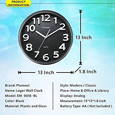 Large Number Wall Clock Plumeet 13 Silent Wall Clock With Large Numbers And Non Ticking Digital Modern Style Good For Living Room Home Drrao Clock Classic Names Easy Install