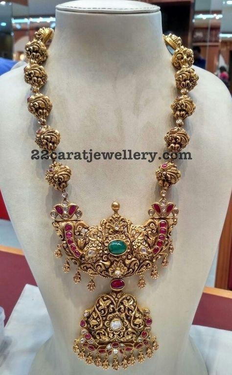 Nakshi Balls Set with Peacock Pendant - Jewellery Designs