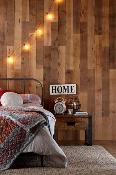 Create A Rustic Barnwood Accent Wall Using Adhesive Planks Panelingwallsaccent Wandverkleidung Wandverkleidung Holz Wandverkleidung Holz Innen