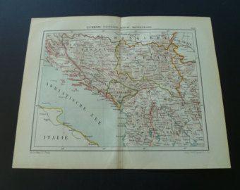 Alte Jugoslawien Karte.134 Year Old Map Of Yugoslavia Dutch Antique Print Serbia