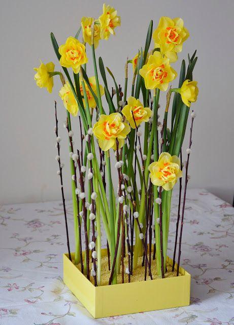 Wielkanoc Dekoracja Wielkanocna Kompozycja Wielkanocna Bukiet Narcyz Narcyzy Bazie Wiosna Christmas Flowers Narcissus Bulbs Daffodils