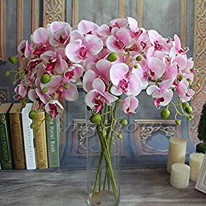 Artificial Orchid Flowers Bouquet 10 Pieces Silk Fake Orchid Flowers In Bulk 36 Long Dancing Lady Orchid Butterfly Artificial Flower For Wedding Home Office D In 2020 Silk Flowers Silk Flowers