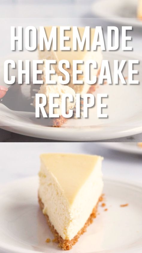 This homemade cheesecake recipe makes a thick, rich and creamy cheesecake with a buttery graham cracker crust. Use sour cream and lemon juice for a tangy flavor. Add sugar and vanilla for sweetness. Cream cheese and eggs make the cheesecake rich and decadent. #homemadecheesecake #cheesecake #cheesecakerecipe #baking #dessert