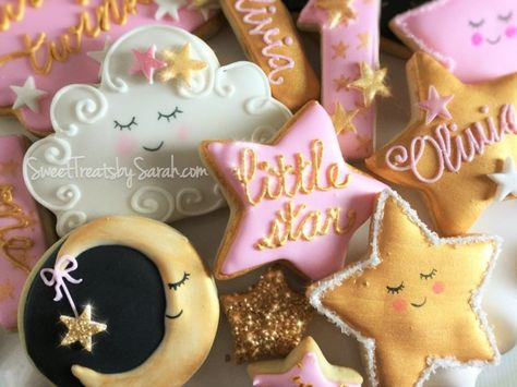 Twinkle, Twinkle, Little Star Cookies Pink and Gold #littlestar