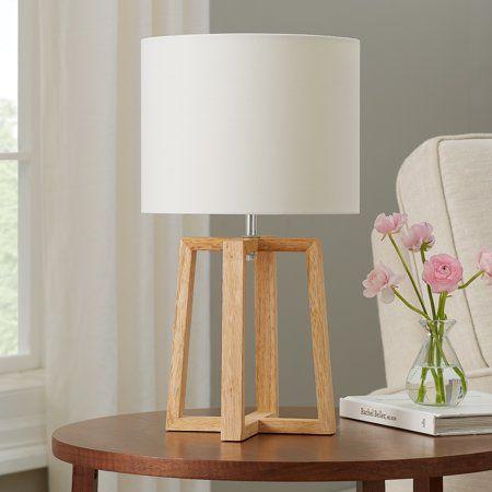 Mainstays Wood Geometric Base Table Lamp With Shade 17 75 H Walmart Com Table Lamp Lamp Glass Lamp Base