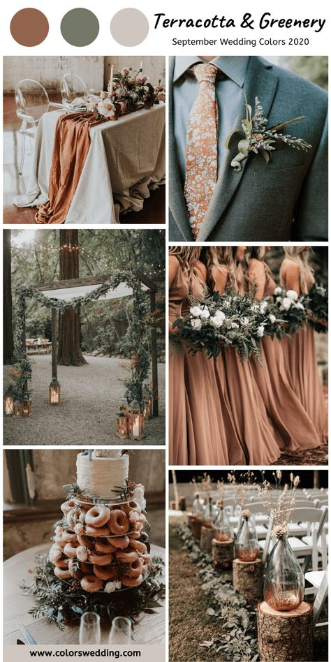 Terracotta Greenery Wedding bridesmaid dresses wedding table runner men s tie and wedding dessert wedding arch men s corsage bouquets and table centerpieces September Wedding Colors, Fall Wedding Colors, Wedding Color Schemes, Fall Wedding Arches, September Wedding Centerpieces, Fall Wedding Themes, Wedding Color Palettes, Green Spring Wedding, Country Wedding Colors