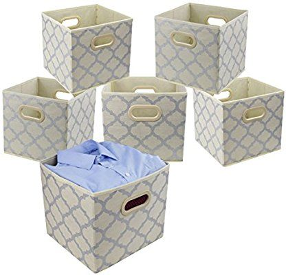 Amazon Com Homyfort Cloth Storage Bins Foldable Basket Cubes Organizer Container Drawers With Dual Plastic H Fabric Storage Cubes Storage Bins Cube Organizer