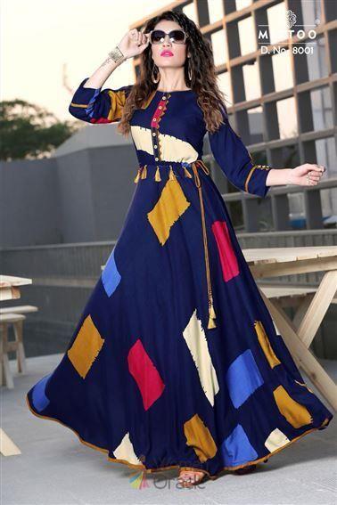 Buy Online Blue Cotton With Digital Printed Floor Length Anarkali Gown Kurti Designs Latest Kurti Designs Kurta Designs Women