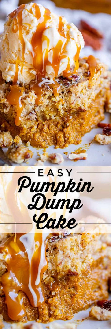 """Easy Pumpkin Dump Cake from The Food Charlatan. It really doesn't get any easy (or tastier!) than this Pumpkin Dump Cake! Mix up a can of pumpkin pie mix with a few simple ingredients, then """"dump"""" a dry yellow cake mix on top. Drizzle with butter and bake! Voila! If you are not into pumpkin pie, this will be your new favorite thing! #easy #pumpkin #dumpcake #recipe #Halloween #Thanksgiving #fall #withoutevaporatedmilk #yellow #best #nonuts #simple #homemade #withpecans #withpiefilling #cake"""