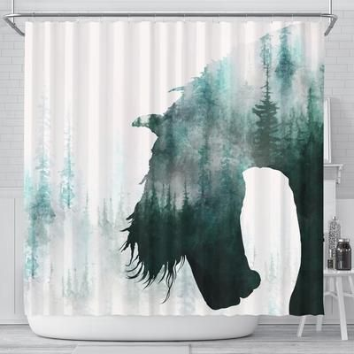 3d Printed Horse Forest Landscape Shower Curtain Shop For Sale