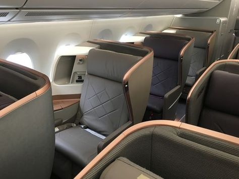 Singapore Airlines' business-class cabin is seen on