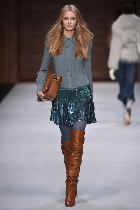 Elisabetta Franchi, Ready-To-Wear, Милан blue sequined skirt and slouchy cognac leather OTK boots runway fashion
