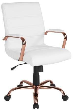 Flash Furniture Mid-Back White LeatherSoft Executive Swivel .-Flash Furniture Mid-Back White LeatherSoft Executive Swivel Office Chair with Rose Gold Frame and Arms, BIFMA Certified SearchDeliver to MeaghanFort Worth - Rose Gold Room Decor, Rose Gold Rooms, Gold Bedroom Decor, Room Ideas Bedroom, Bedroom Sets, Rose Gold Interior, Bedroom Stuff, Master Bedroom, Swivel Office Chair