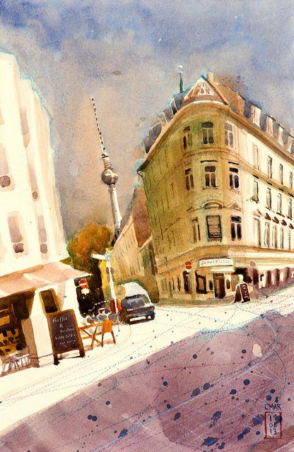 Simple Kaffee und Kuchen by omar paint via Flickr Urbansketching Pinterest Kuchen Urban sketchers and Urban
