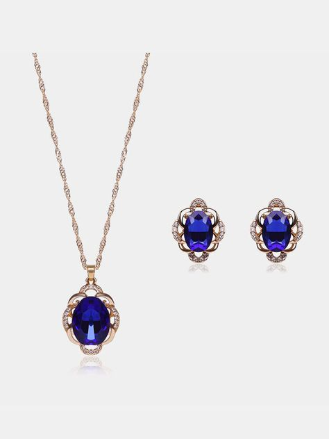 """Style: Jewelry SetColor: Black, BlueMaterial: Alloy, Rhinestone, CrystalEarrings Size: about 17*21mm / 0.66"""" x 0.82""""Necklace Diameter: about 125mm / 4.92""""Necklace Pendant Size: about 20*32mm / 0.78"""" x 1.25""""Weight: about 16.6g Package Included:1 X Jewelry SetNotice: 1.Please allow 1-5mm differences due to manual measurement.2.Due to the light and screen difference, the items color may be slightly different from the pictures. Pleaseunderstand and make sure you dont mind before you bid."""