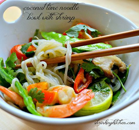 Coconut Lime Noodle Bowl with Shrimp from Shrinking Kitchen!