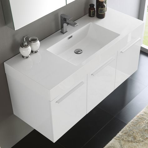 fresca vista white mdf 48 inch wall hung modern bathroom vanity with rh pinterest ie