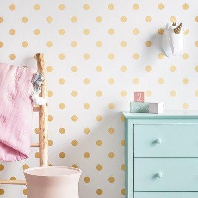 Peel Stick Wallpaper Metallic Polka Dot Gold Cloud Island Polka Dots Wallpaper Peel And Stick Wallpaper Dots Wallpaper