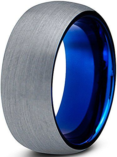 cool tungsten wedding band ring 8mm for men women comfort fit blue round domed brushed lifetime