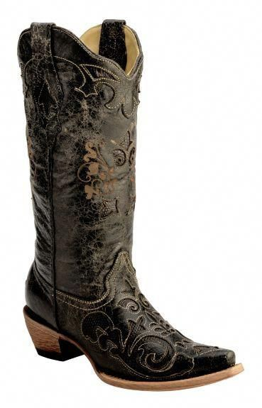 900b7496375 Corral Vintage Distressed Black with Lizard Inlay Cowgirl Boots ...