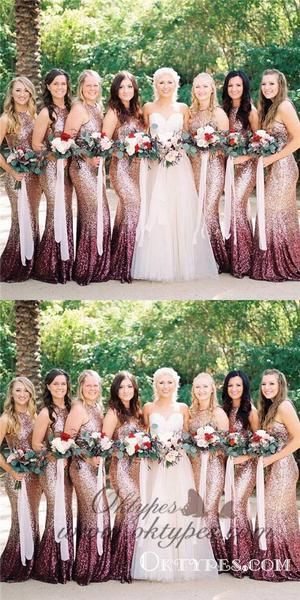 On Sale Admirable Mermaid Bridesmaid Dress Mermaid Round Neck Long Ombre Sequined Bridesmaid Dresses, Mermaid Round Neck Long Ombre Sequined Bridesmaid Dresses