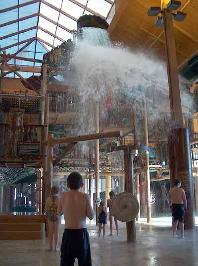Overview of the Great Wolf Lodge indoor water park resort in Grapevine, Texas.