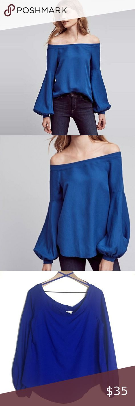 "Floreat Mazza Off Shoulder Puff Sleeve Blouse E777 Size 10. Approx 20"" pit to pit, 22""+ length. Excellent condition. Off the shoulder silhouette with modern bishop, puff sleeves and gathered cuffs. Beautiful royal blue color. Floreat Tops Blouses"