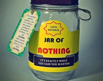 Instant Download Jar Of Nothing Printable Great Gag Gift Or Etsy Diy Christmas Gifts For Men Best Gag Gifts Diy Gag Gifts