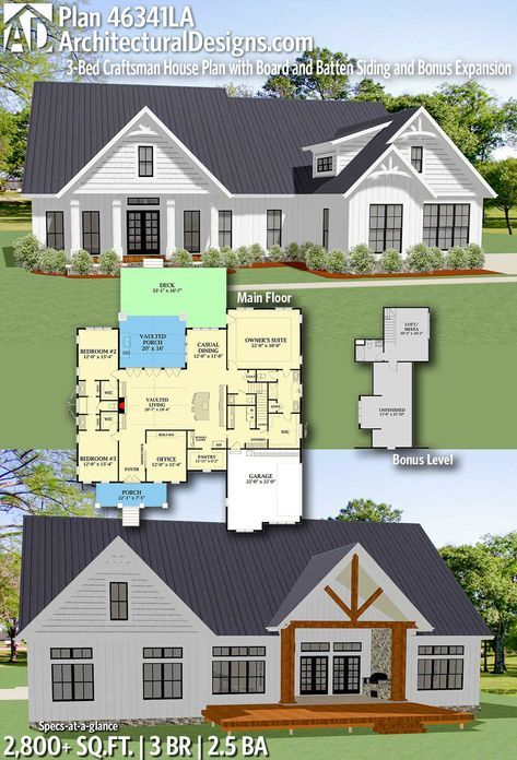 Plan 46341la 3 Bed Craftsman House Plan With Board And Batten Siding And Bonus Expansion Craftsman House Craftsman House Plans New House Plans
