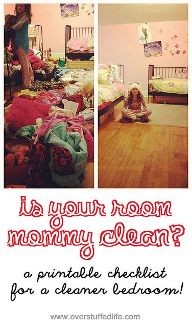 Is your room 'mommy clean'?--a printable checklist for a cleaner bedroom!