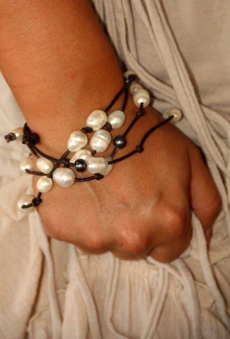leather pearl wrap bracelet @gypsyvill.com $56