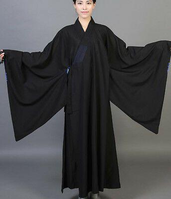 Buddhist Monk Shaolin Dress Meditation Haiqing Robe Long Gown Kung Fu Suit mgic