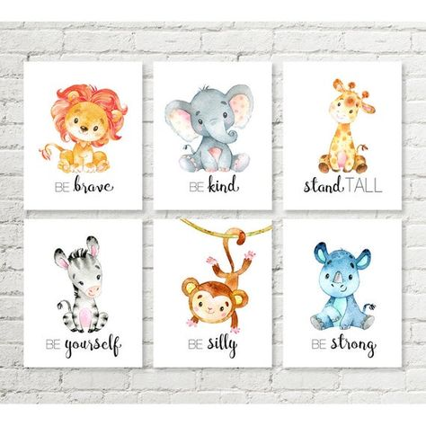 Sweet safari nursery decor set of printable wall art! A gender neutral print to display in a nursery. Included are: giraffe - stand tall, elephant - be kind, lion - be brave, rhino - be strong, monkey - be silly, zebra - be yourself.  This listing is for an INSTANT DOWNLOAD for you to print at home