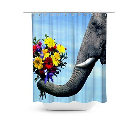 Elephant Shower Curtain 72 X 72 Inch Polyester Fabric Bathroom