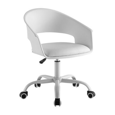 Mainstays Mid Century Plastic Back Cushioned Seat Swivel Office Task Chair Multiple Colors Walmart Com In 2020 Task Chair Chair Office Chair Cushion