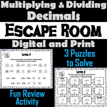 This Breakout Escape Room Is A Fun Way For Students To Test Their Skills With Multiplying And Dividing Decimals Dividing Decimals Subtracting Decimals Decimals