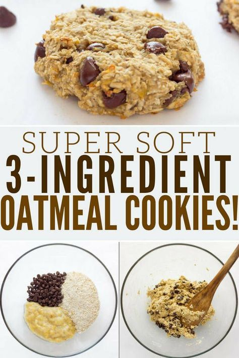 3 Ingredient Banana Oatmeal Cookies - One Clever Chef Ready under 20 minutes, these healthy, chewy and soft banana oatmeal cookies are made with only 3 simple ingredients. Banana Oatmeal Cookies, Oatmeal Cookie Recipes, Easy Cookie Recipes, Chocolate Chip Cookies, Cake Recipes, Chocolate Chips, Banana Bars, Healthy Chocolate, Simple Recipes