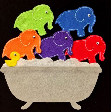Fun with Friends at Storytime: Guest Post.Five Elephants in the Bathtub! from Kelsey Flannel Board Stories, Felt Board Stories, Felt Stories, Flannel Boards, Preschool Music, Preschool Activities, Senses Activities, Preschool Curriculum, Preschool Printables