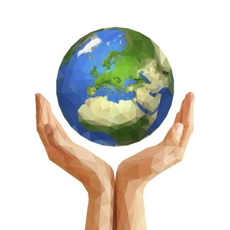 Polygonal Cupped Hands That Hold Polygon Planet Earth Europe Illustrator Inspiration Earth Illustration Earth