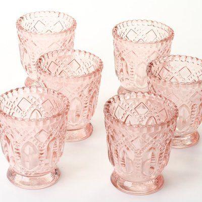 Mistana 6 Piece 3 Glass Tabletop Votive Holder Set Wayfair Vintage Pressed Glass Vintage Glass Candle Holders Glass Candle Holders