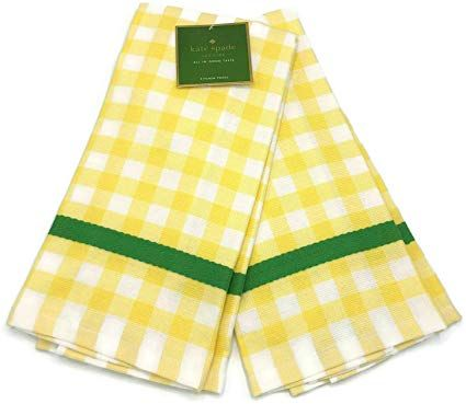 Kate Spade New York Color Pop Gingham Yellow 2 Pack Kitchen Towels