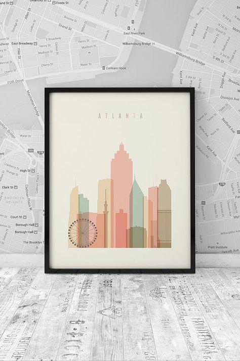 Atlanta skyline, Print, Printable Poster, Wall Art, Georgia cityscape, wall decor, City poster, Art, digital poster print, INSTANT DOWNLOAD.