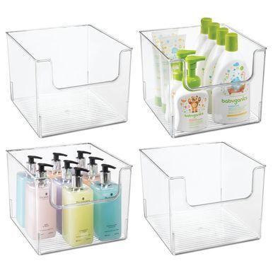 Mdesign Wide Plastic Bathroom Vanity Storage Organizer Bin Dipped Front 10 X 10 X 7 75 Pack Of 4 Bathroom Vanity Storage Cube Storage Storage Bins