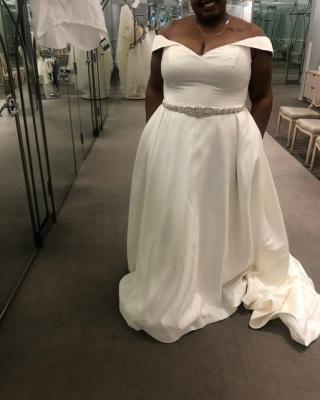 Off Shoulder Satin Gown Plus Size Wedding Dress David S Bridal Davids Bridal Wedding Dresses Wedding Dresses Satin Gown